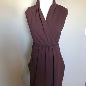 Wilfred draped plum dress with pockets